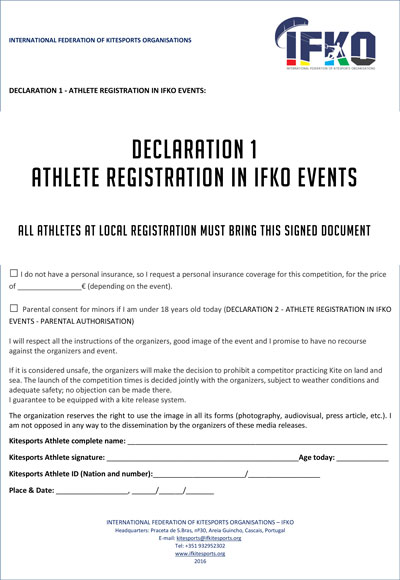 DECLARATION 1 - ATHLETE REGISTRATION IN IFKO EVENTS